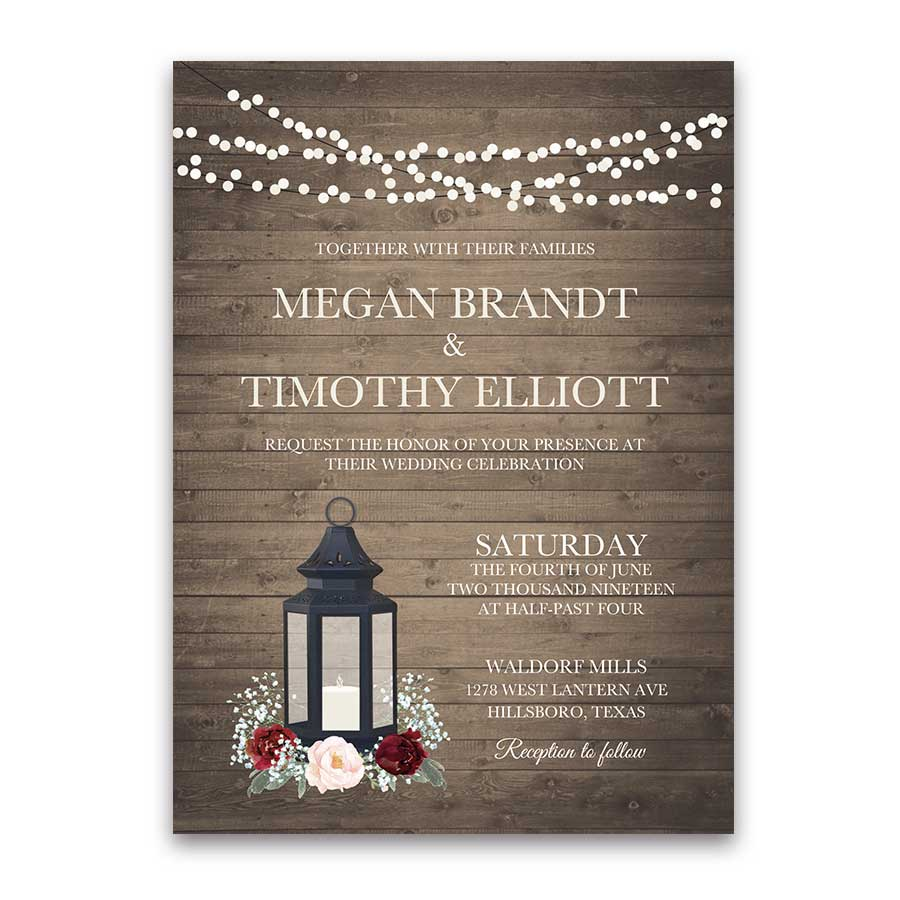 Rustic Metal Lantern Wedding Invitations Burgundy Floral