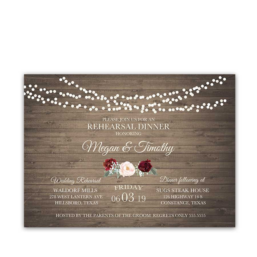 Floral Wedding Rehearsal Dinner Invitations Burgundy Blush