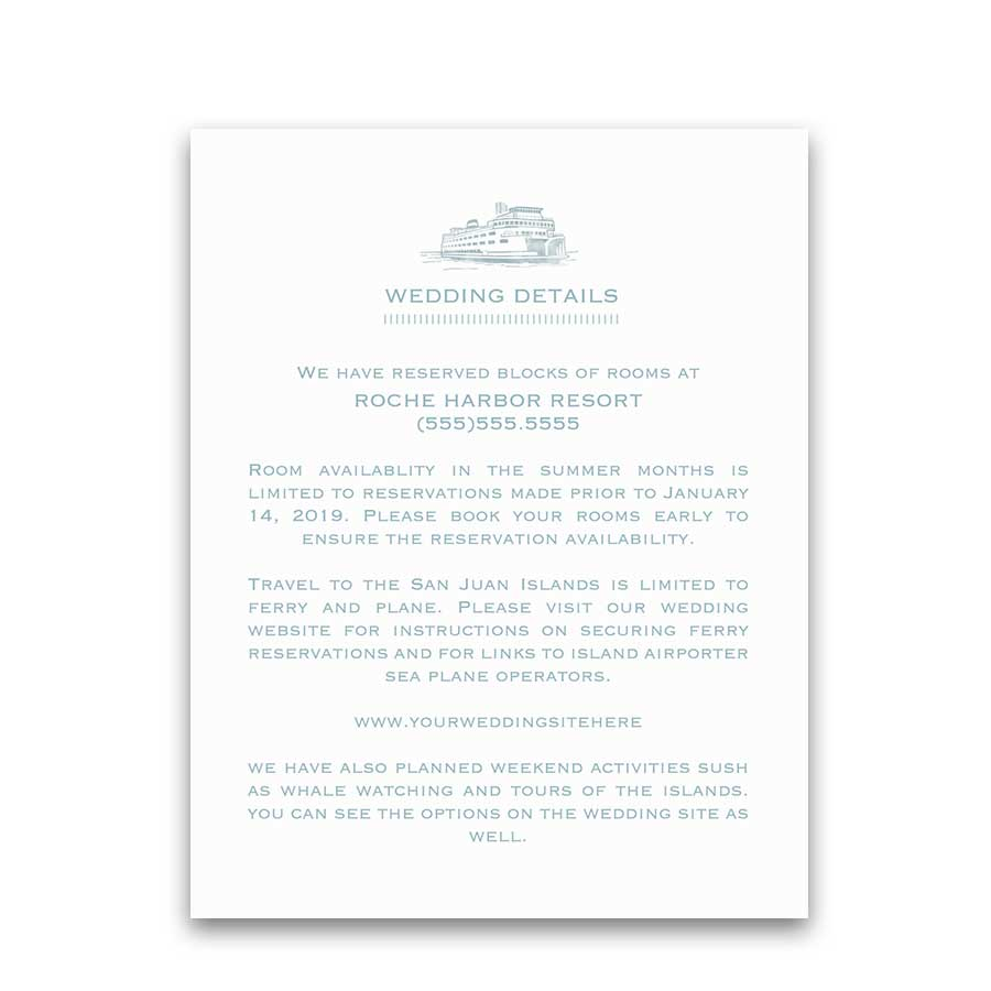 San Juan Island Wedding Venues Guest Information Cards