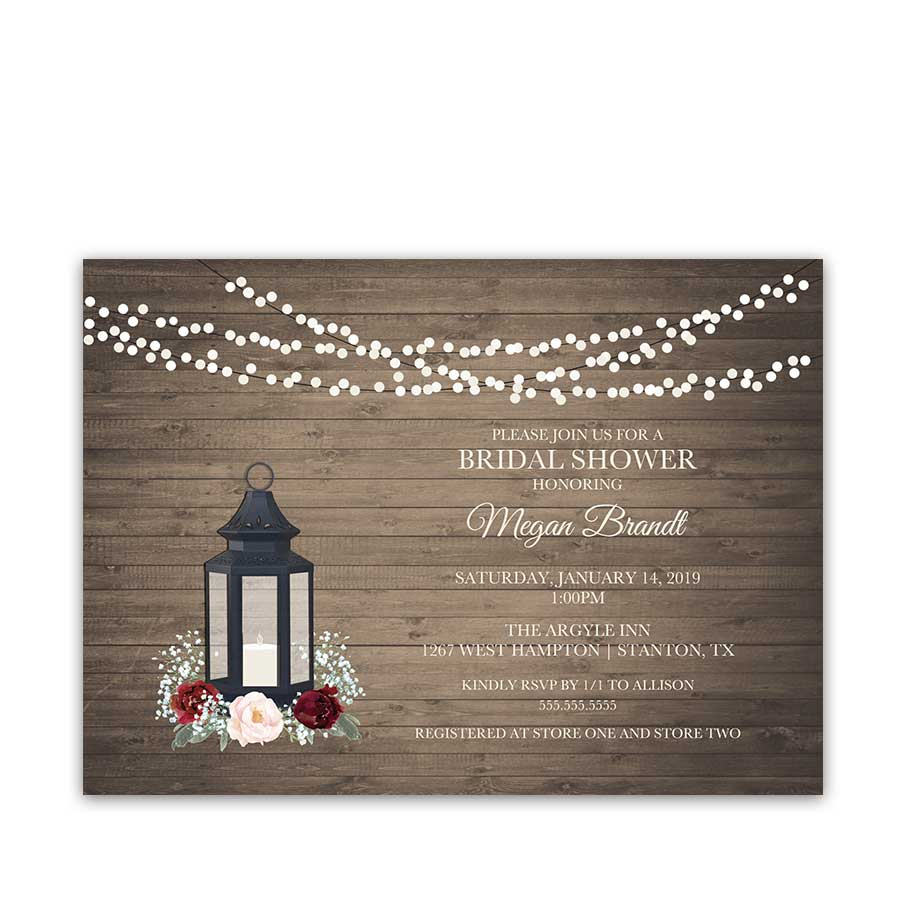 a1ee4e33c06 Rustic Bridal Shower Invitations Lantern Burgundy Florals