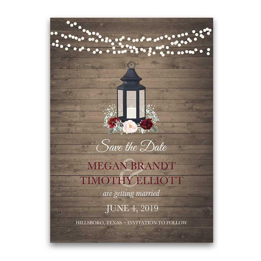 Rustic Save the Date Cards Lantern Burgundy Blush Florals