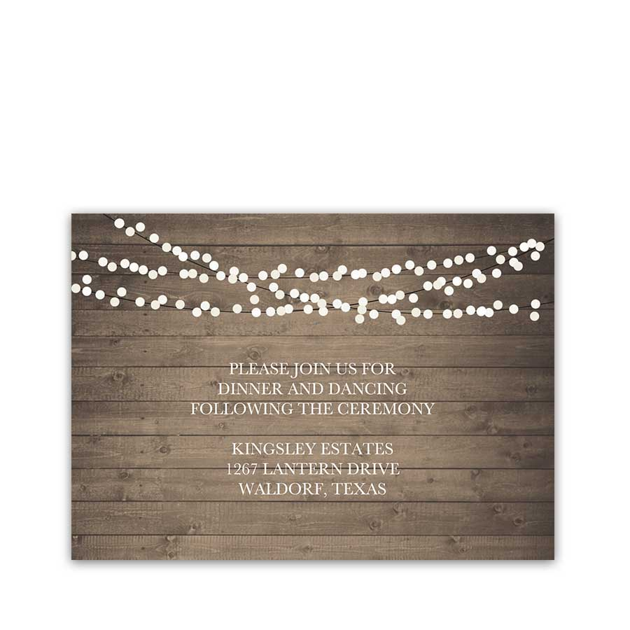 Rustic Wedding Reception Details Insert Cards String Lights
