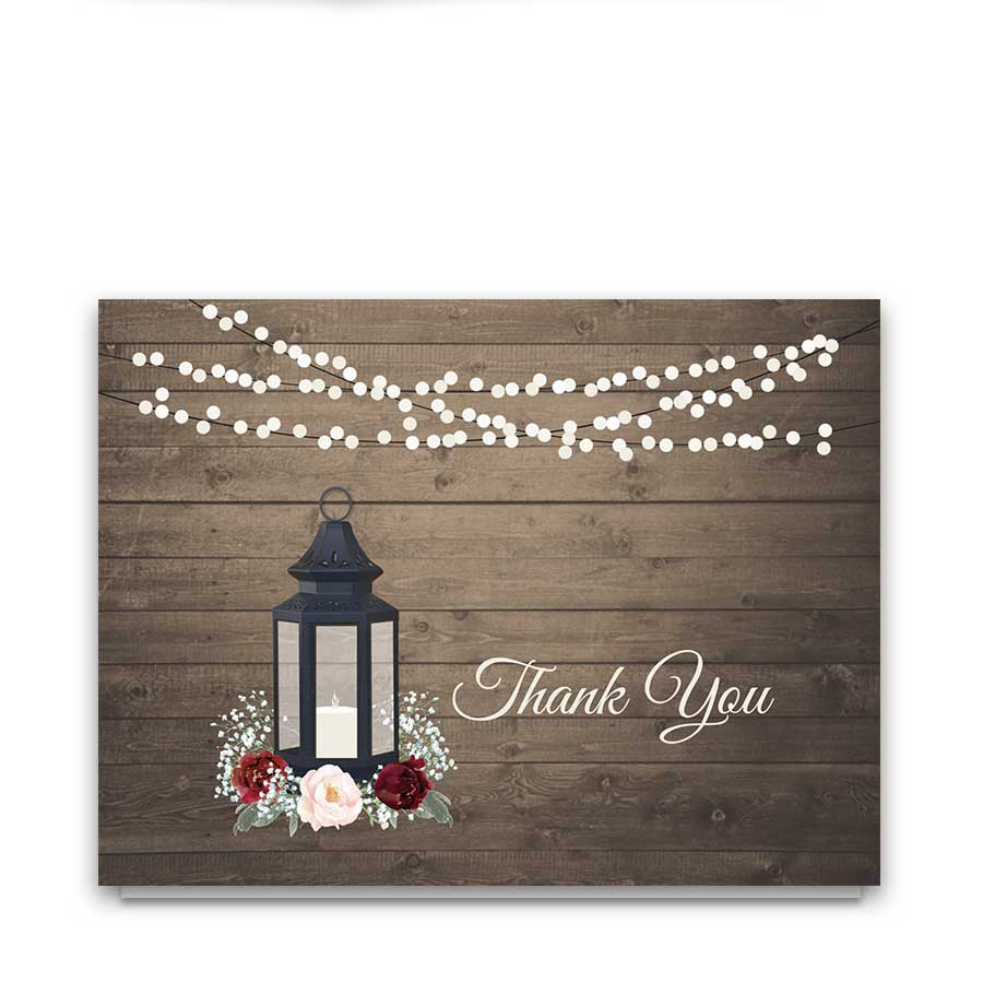 Wedding Thank You Cards Rustic Lantern Burgundy Florals