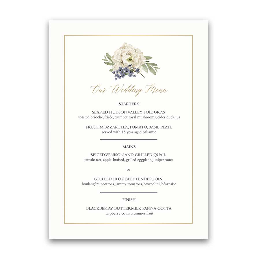 Vintage Botanical Wedding Menu Garden Wedding