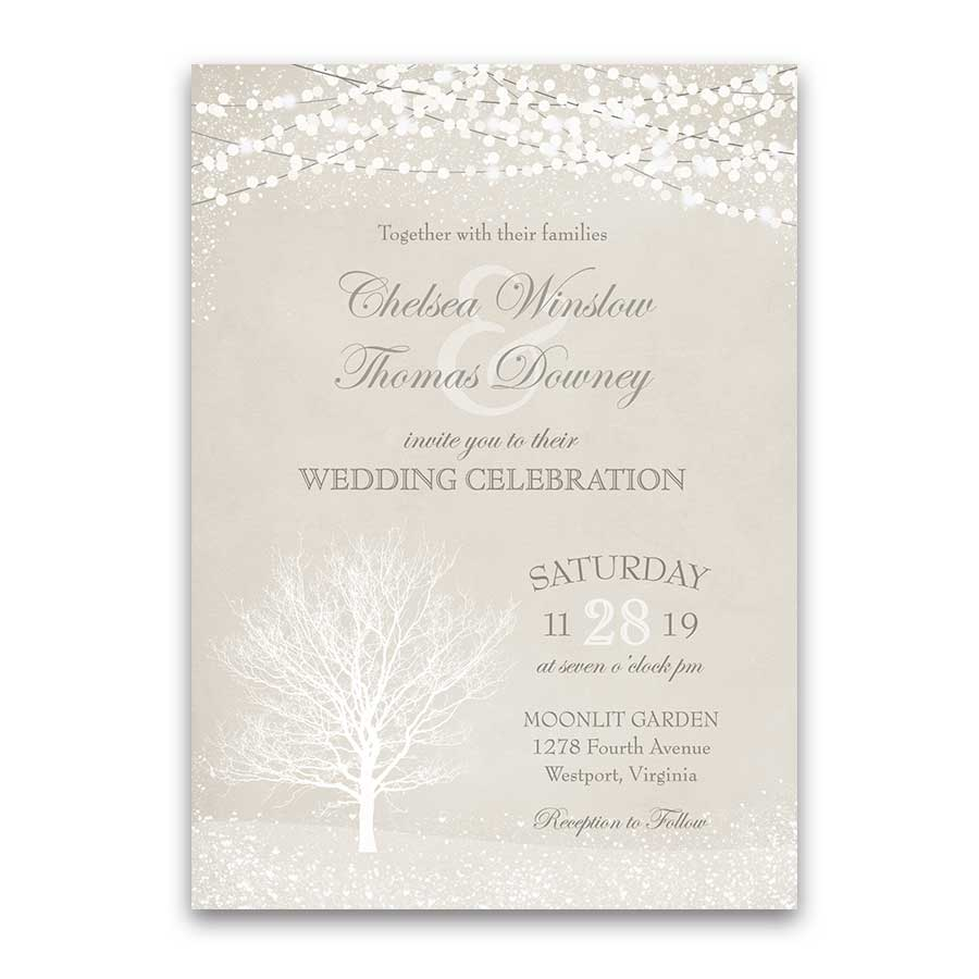 Rustic Winter Wedding Invitations Christmas Wonderland