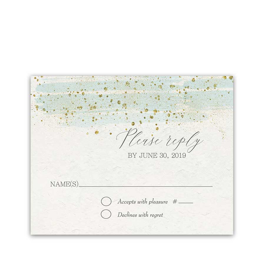 Wedding RSVP Cards Mint Gold Watercolor Modern Sparkle