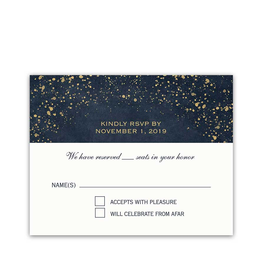 Navy Gold Wedding RSVP Reply Cards Sparkle Glittery