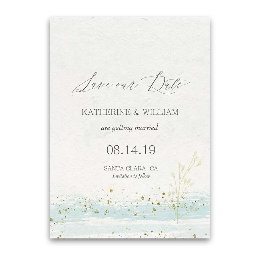 Watercolor Stroke Save the Date Mint Gold Modern Cards