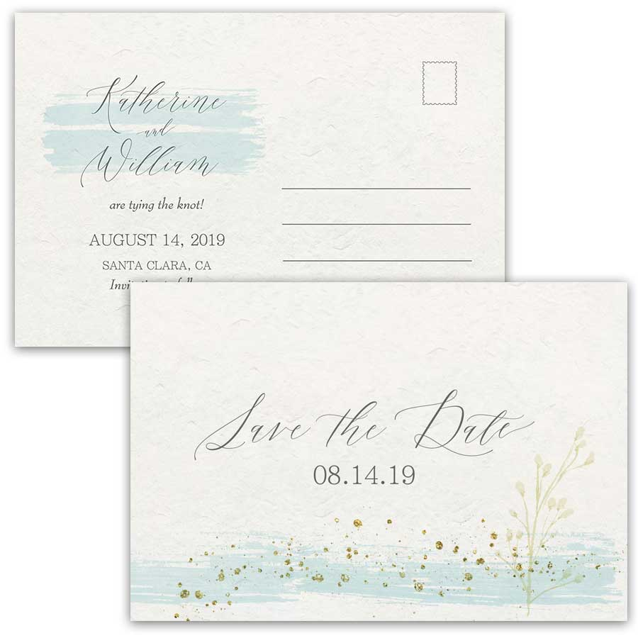Watercolor Stroke Save the Date Mint Gold Modern Postcard