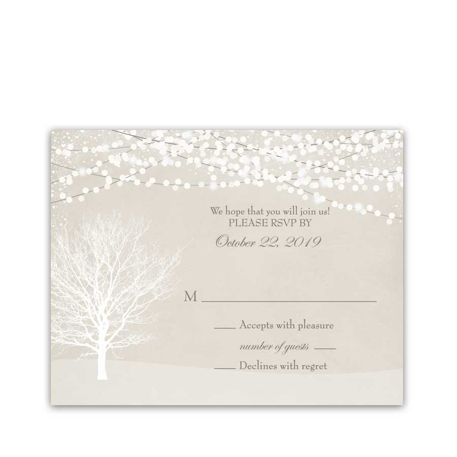 Rustic Winter Wonderland Wedding RSVP Cards Christmas Wedding