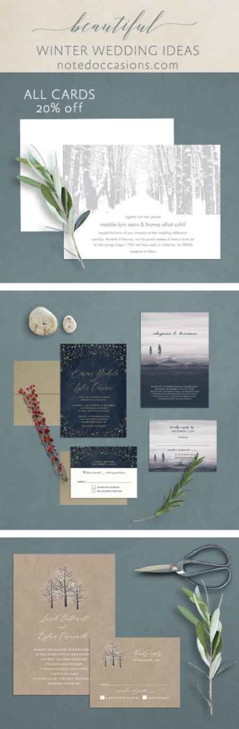 Winter Wedding Inspirations Invites Florals