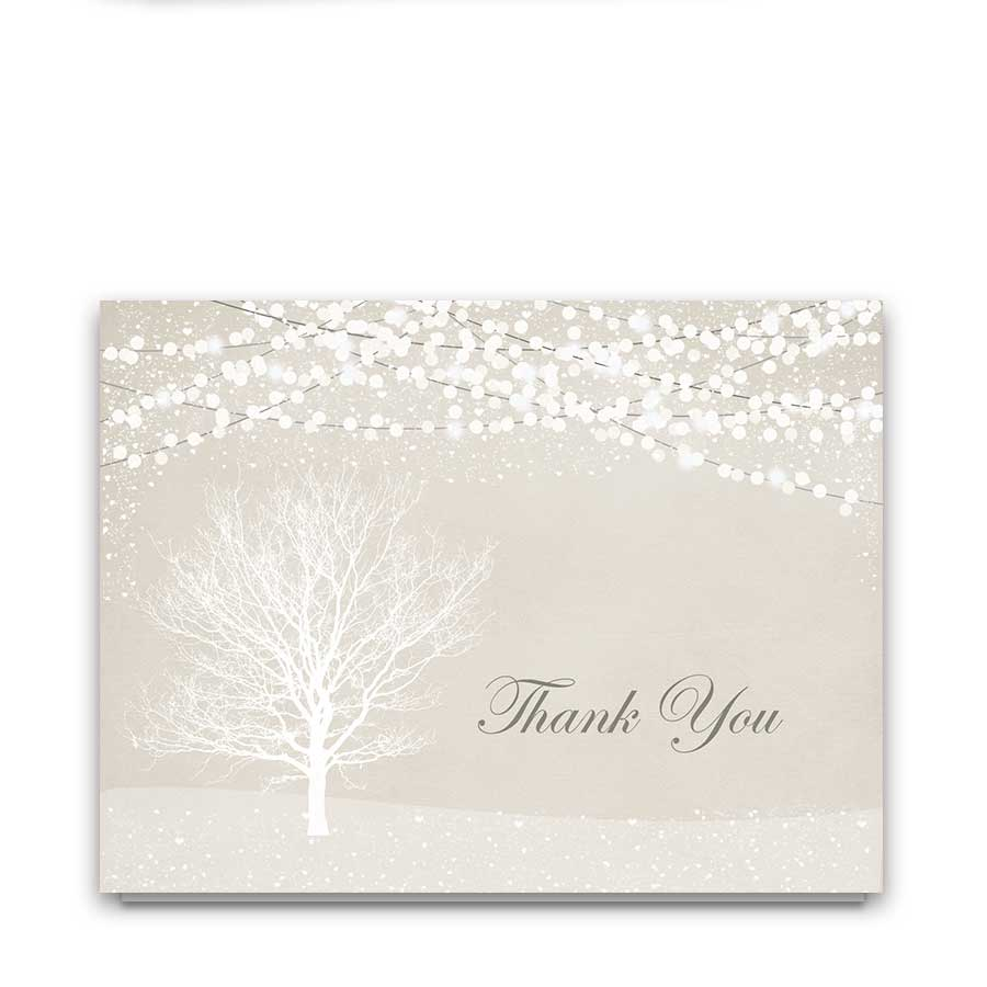 Wedding Thank You Cards Rustic Winter Christmas Wedding