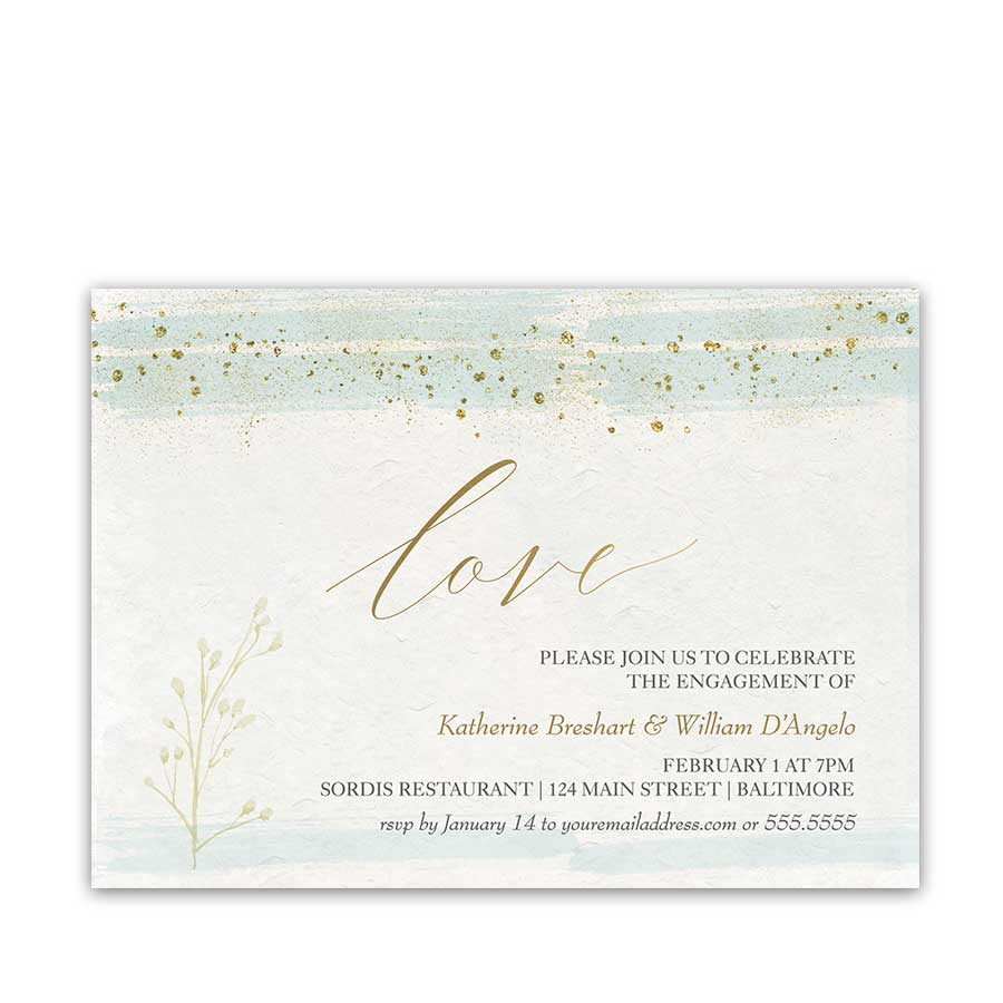 Engagement Party Invitations Mint Gold Watercolor Modern Sparkle