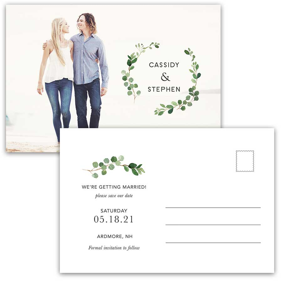 Greenery Eucalyptus Wreath Wedding Save the Date Postcard