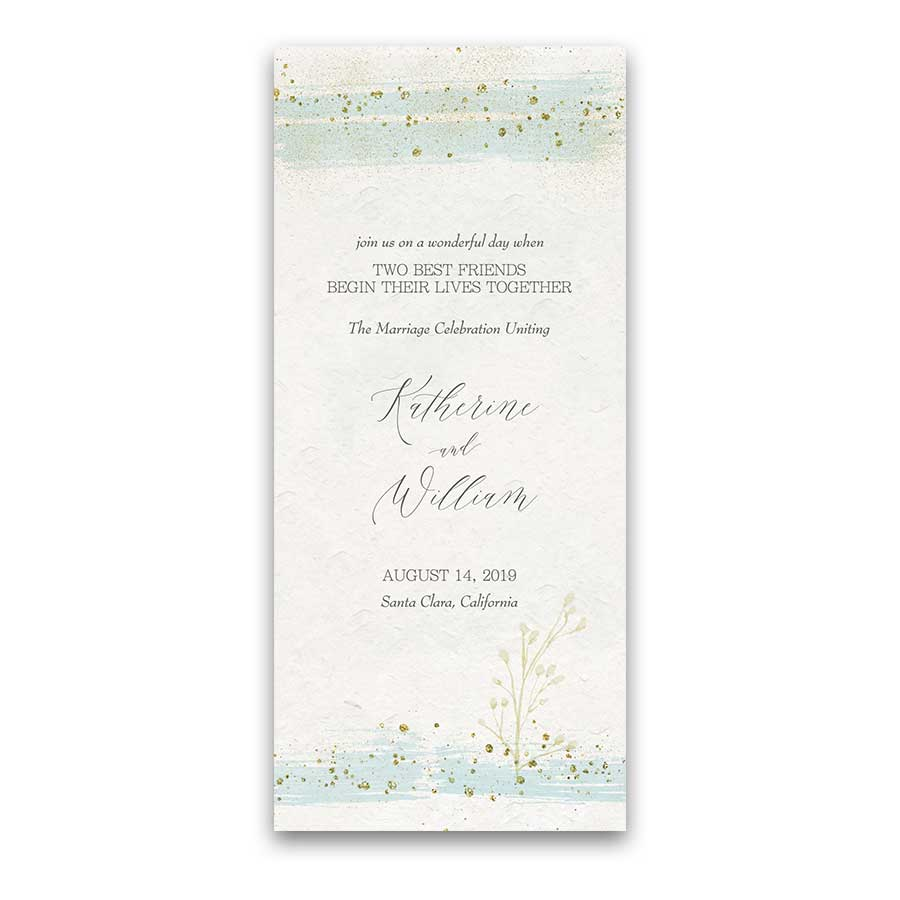 Custom Wedding Programs Modern Watercolor Mint Gold