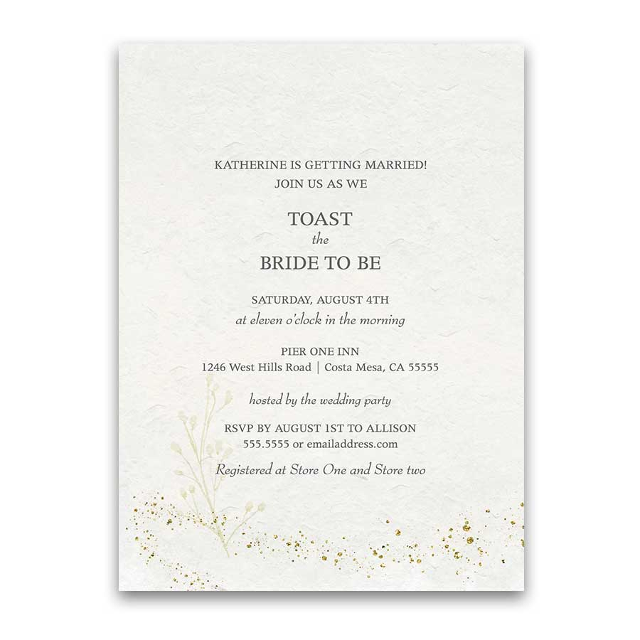 Elegant Gold Bridal Shower Invitation Sparkly Gold Accents