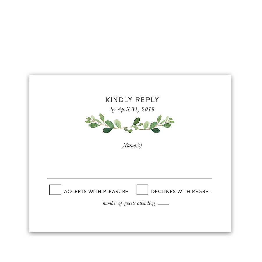 Wedding RSVP Card Bohemian Greenery Eucalyptus Wreath