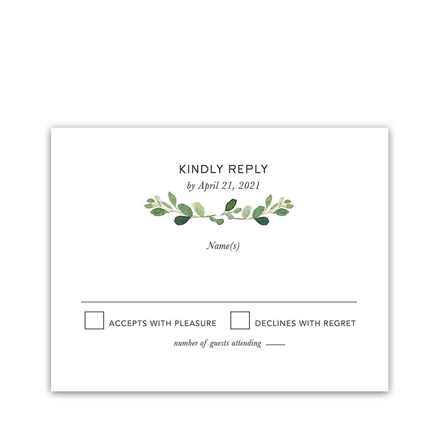 Greenery Wedding RSVP Reply Card Eucalyptus Minimalist Modern