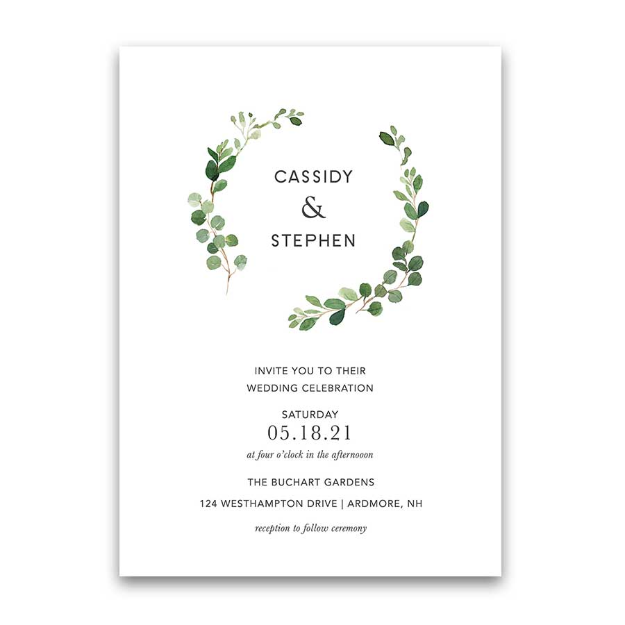 Greenery Wedding Invitation Bohemian Eucalyptus Wreath