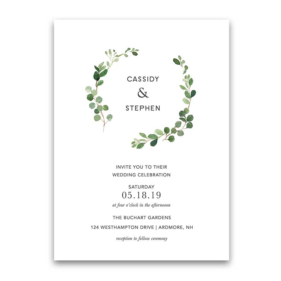 Bohemian Wedding Invitations Greenery Eucalyptus Wreath