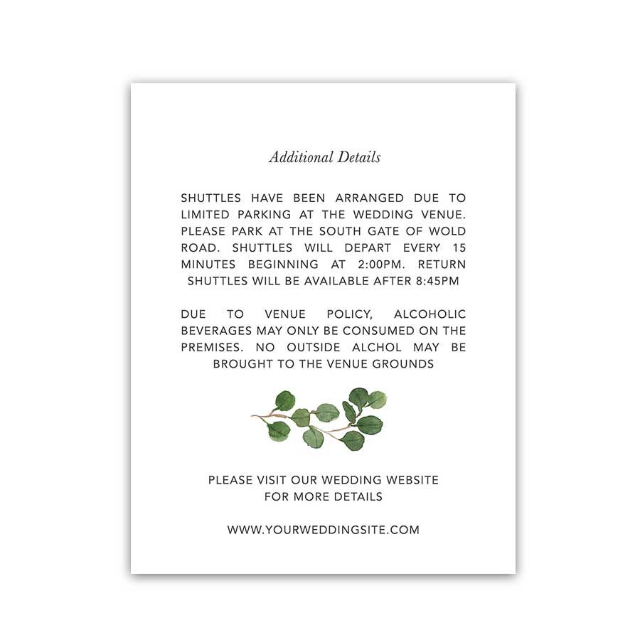 Greenery Wedding Enclosure Cards Watercolor Eucalyptus