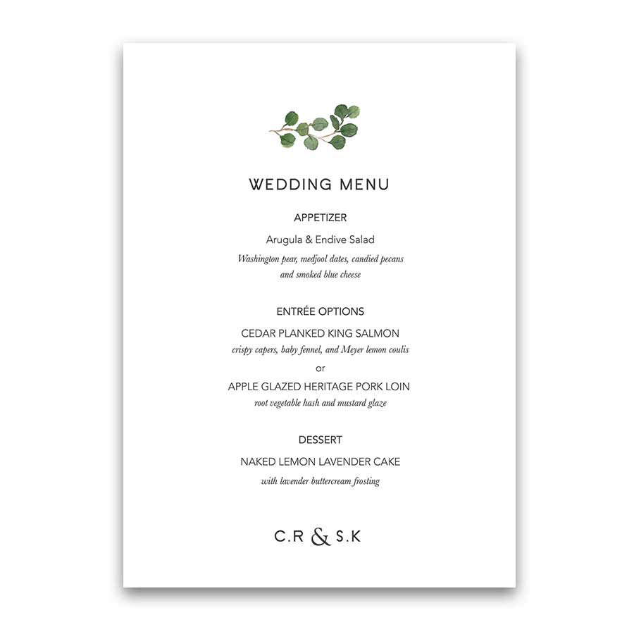 Monogram Wedding Menu Greenery Eucalyptus Custom Design