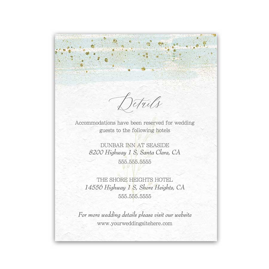 Wedding Enclosure Cards Mint Gold Watercolor Modern Sparkle