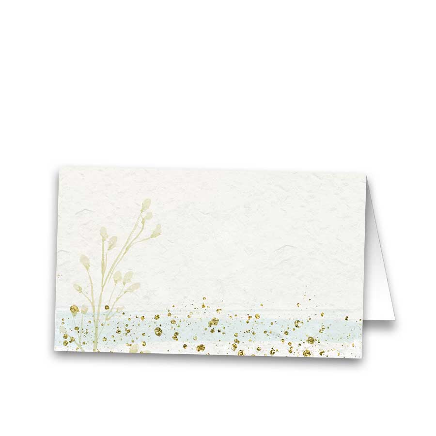 Custom Wedding Escort Cards Mint Gold Watercolor Modern