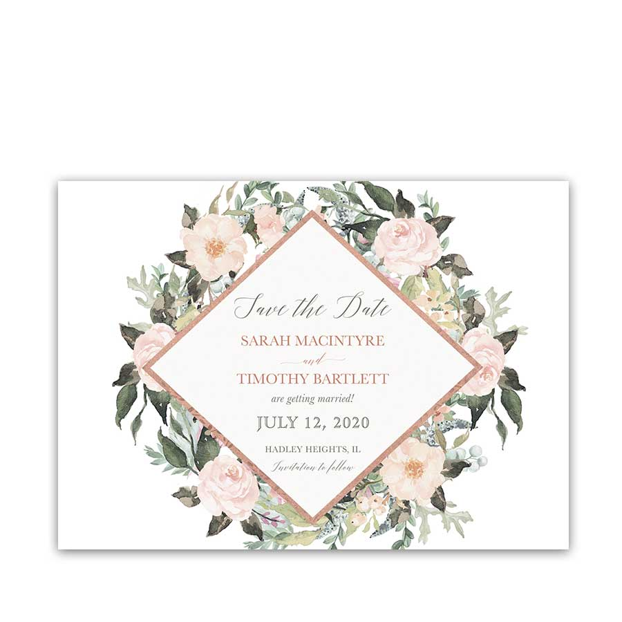 Rose Gold Geometric Save the Date Cards Blush Coral Floral