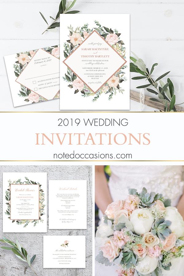 Geometric Wedding Invitations Blush Peach Floral Greenery