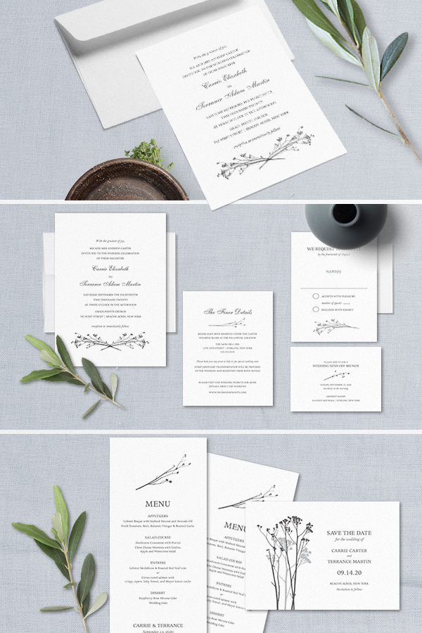 Modern Wedding Invitations Greenery Branches Colors Optional