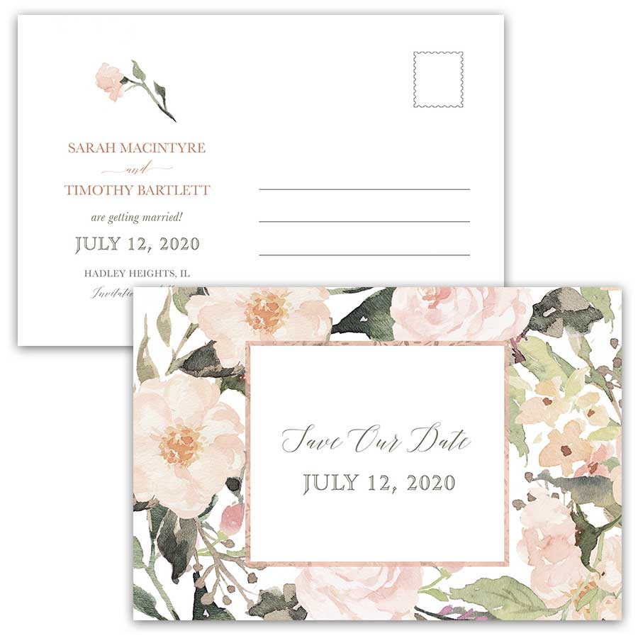 Rose Gold Geometric Save the Date Postcard Blush Coral Floral