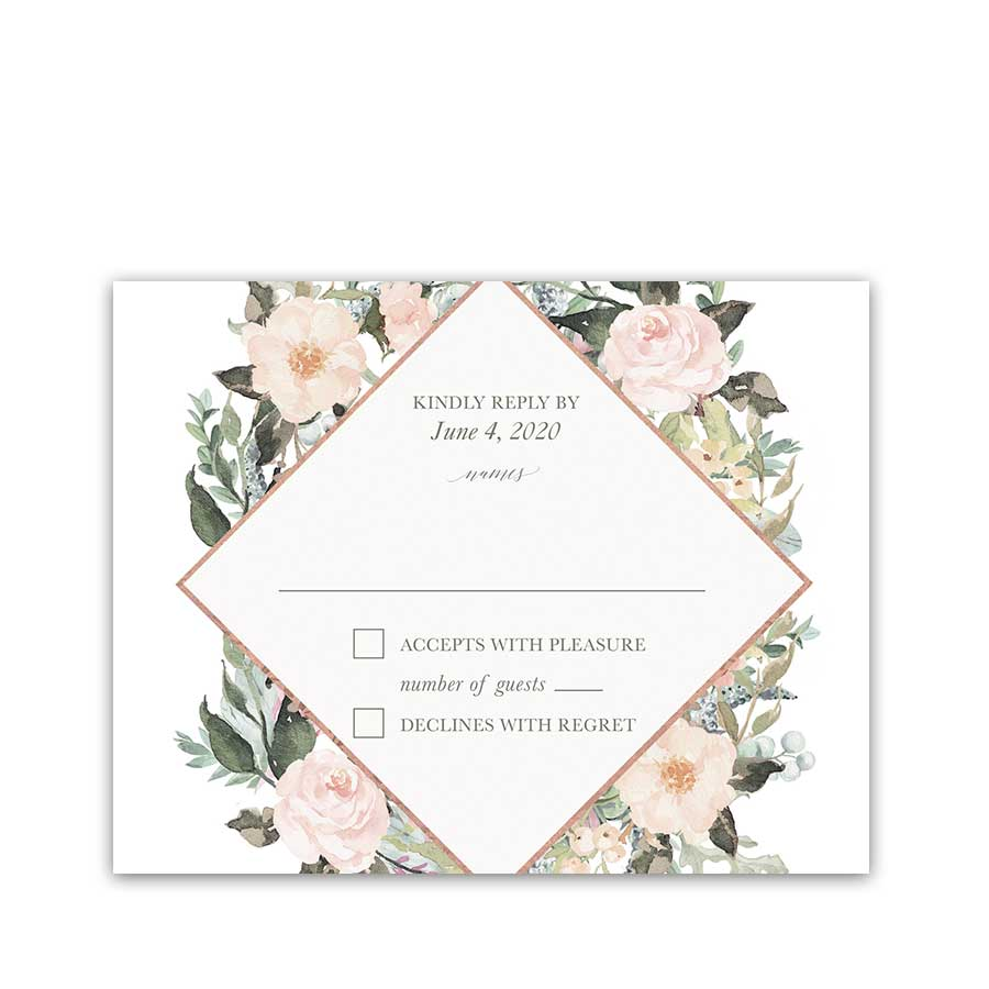 Geometric Wedding Response Cards Blush Peach Floral Greenery