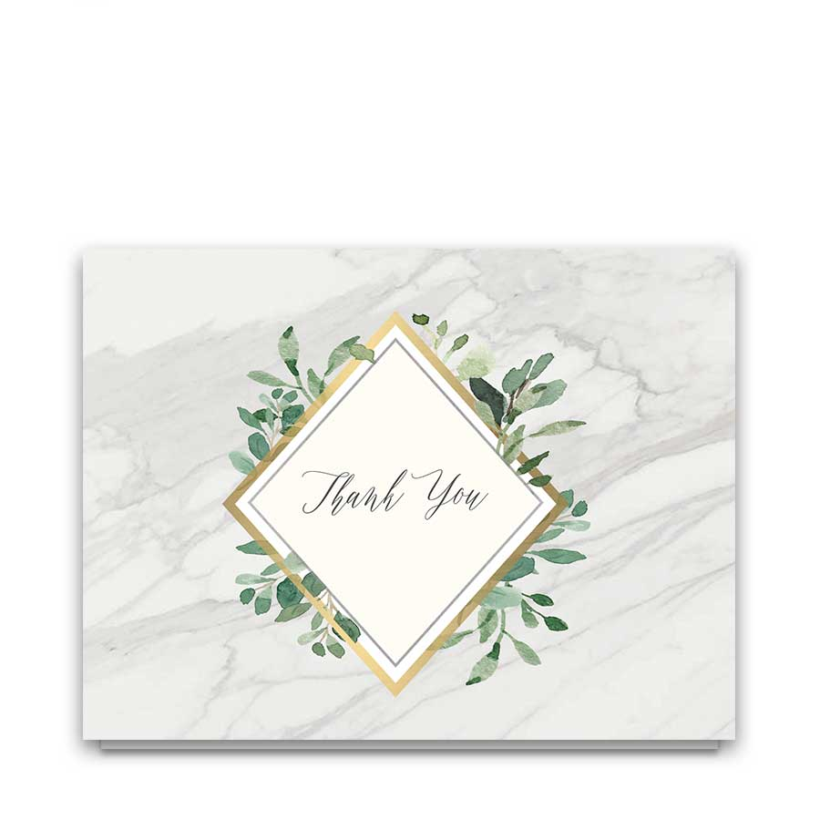 Marble Wedding Thank You Cards Greenery Geometric Design