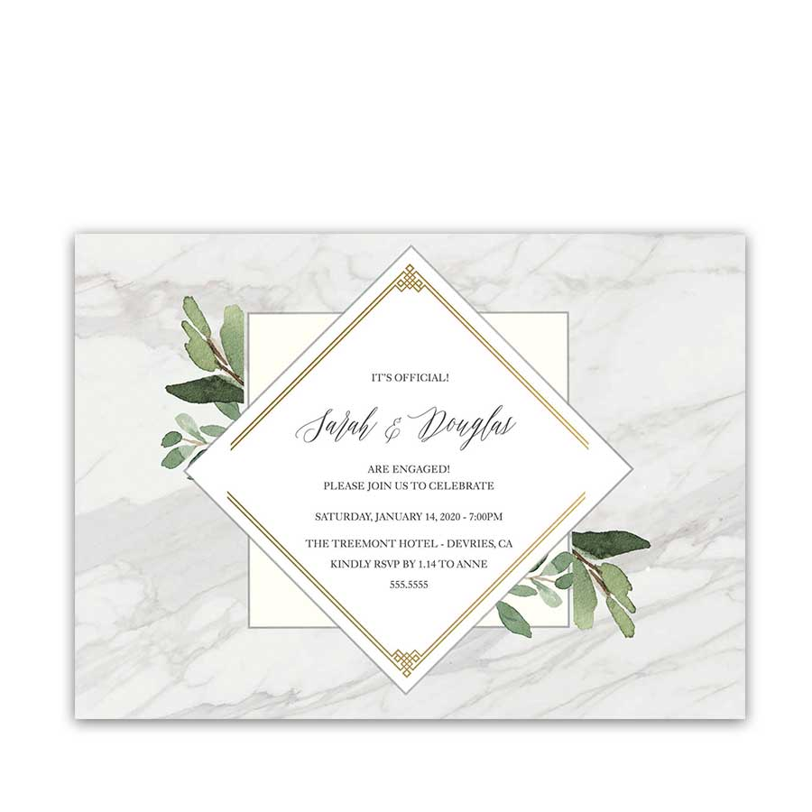 Geometric Engagement Party Invitations Greenery Marble