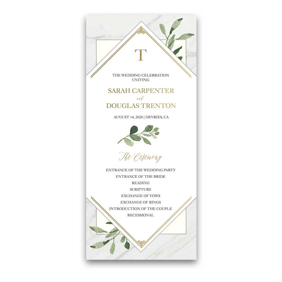 geometric wedding programs marble greenery and gold accents