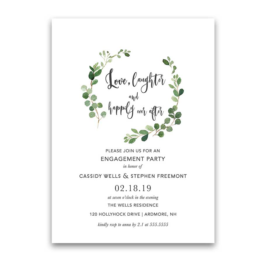 Greenery Wedding Engagement Party Invitation Love Laughter