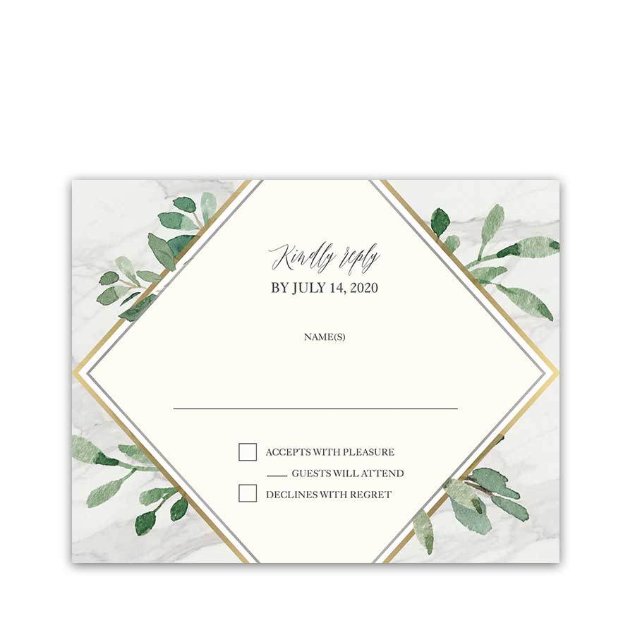 Wedding RSVP Cards Marble Greenery Geometric Diamond Gold