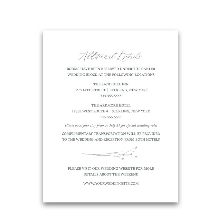 Guest Information Cards Modern Pale Blue greenery