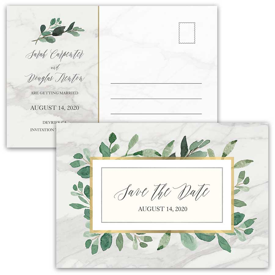 Marble Save the Date Cards Greenery Geometric Gold