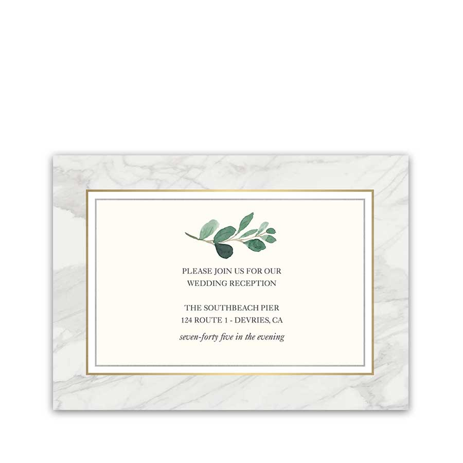 Marble Wedding Reception Invitations Greenery Geometric Gold