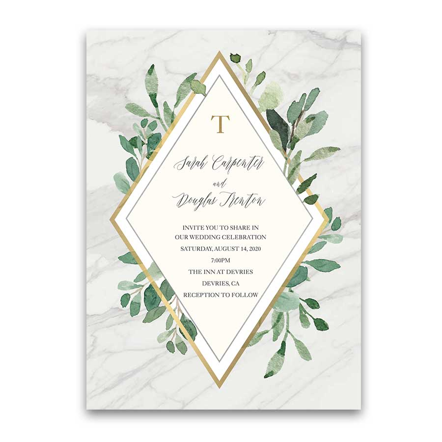 Marble Wedding Invitations Greenery Geometric Diamond Gold