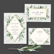 Marble Wedding Invitations Greenery Geometric Diamond Gold
