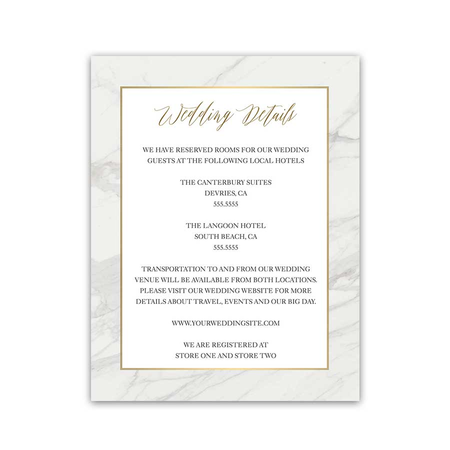 Marble Geometric Wedding Enclosure Cards Gold Accents