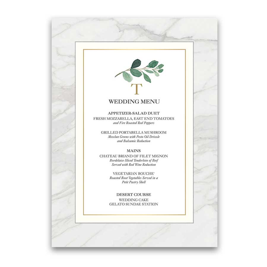 Custom Wedding Menu Greenery Eucalyptus Gold Marble