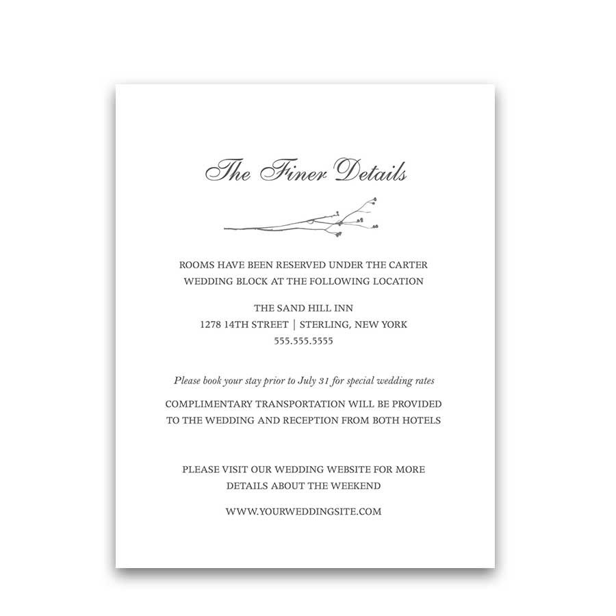 Guest Information Cards Modern Greenery Sprigs Wedding Insert
