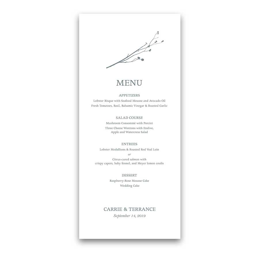 Custom Wedding Menus Pale Blue Woodsy Wildflowers