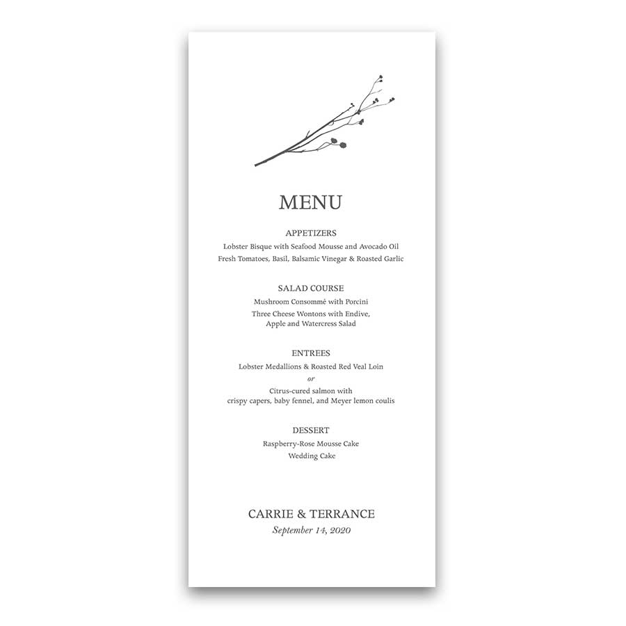 Custom Wedding Menu Template Minimalist Greenery Sprigs