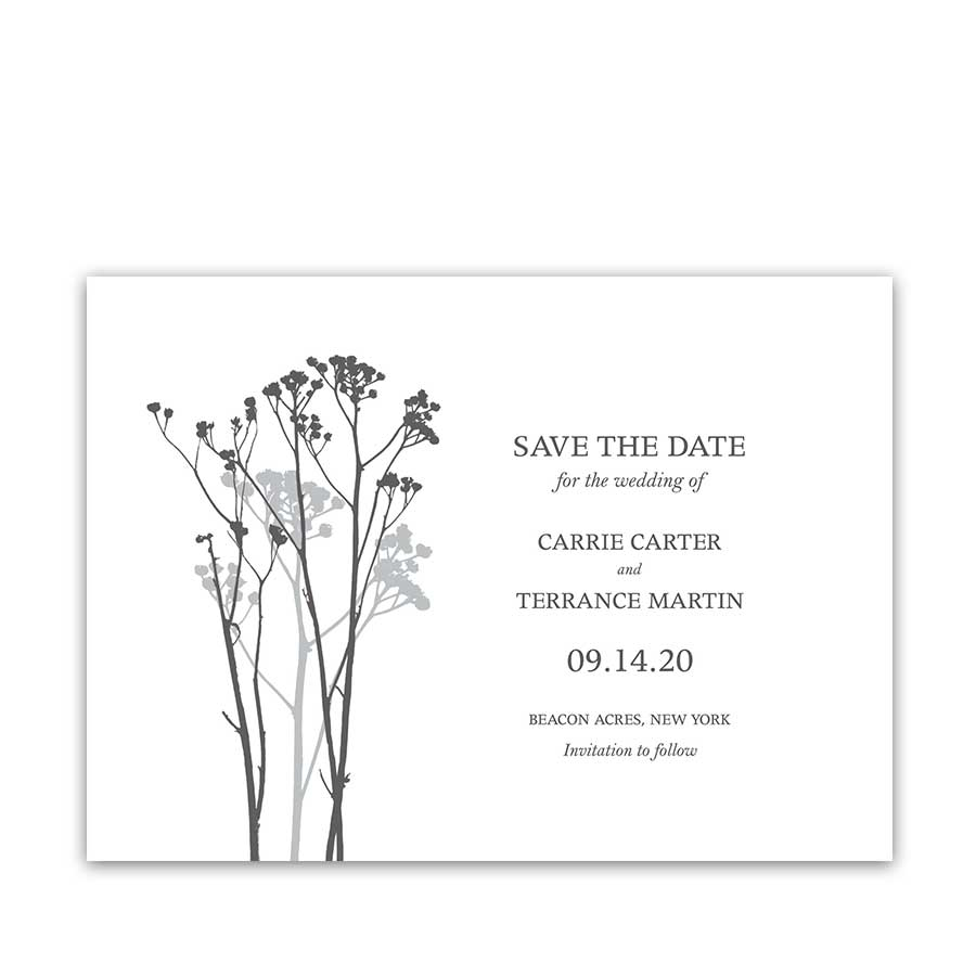 Modern Floral Wedding Save the Date Card Greenery Sprigs