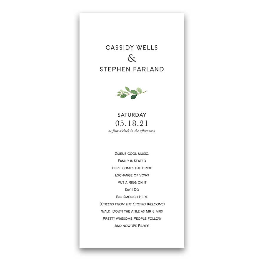 Greenery Wedding Program Template Modern Order of Service
